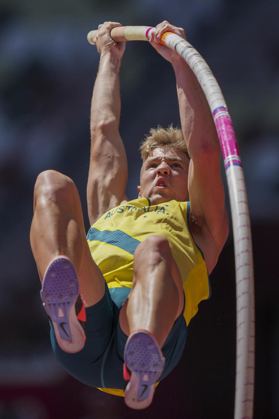 Ashley Moloney, of Australia, competes in the decathlon pole vault at the 2020 Summer Olympics, Thursday, Aug. 5, 2021, in Tokyo. (AP Photo/Matthias Schrader)