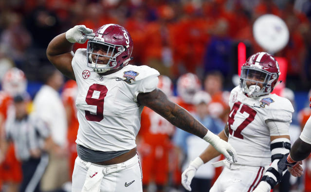 Alabama defensive lineman Da'Shawn Hand (9) celebrates his sack in the second half of the Sugar Bowl semi-final playoff game against Clemson for the NCAA college football national championship, in New Orleans, Monday, Jan. 1, 2018. (AP Photo/Butch Dill)