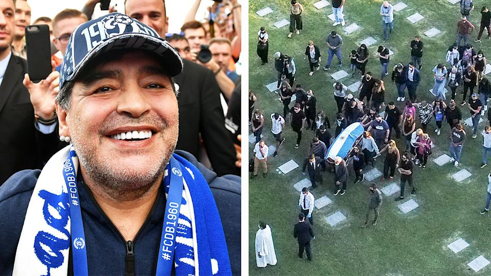 Diego Maradona smiling (pictured left) an aerial view of the burial of late Argentine Maradona (pictured right).