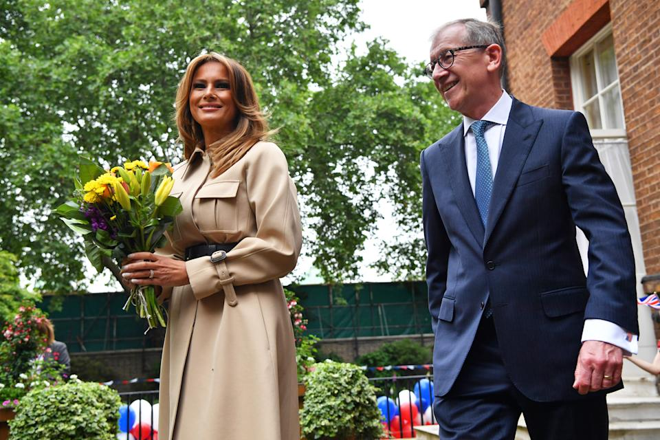 US First Lady Melania Trump and Philip May, husband of Prime Minister Theresa May, during a Garden Party in Downing Street, London, on the second day of US President Donald Trump's state visit to the UK.