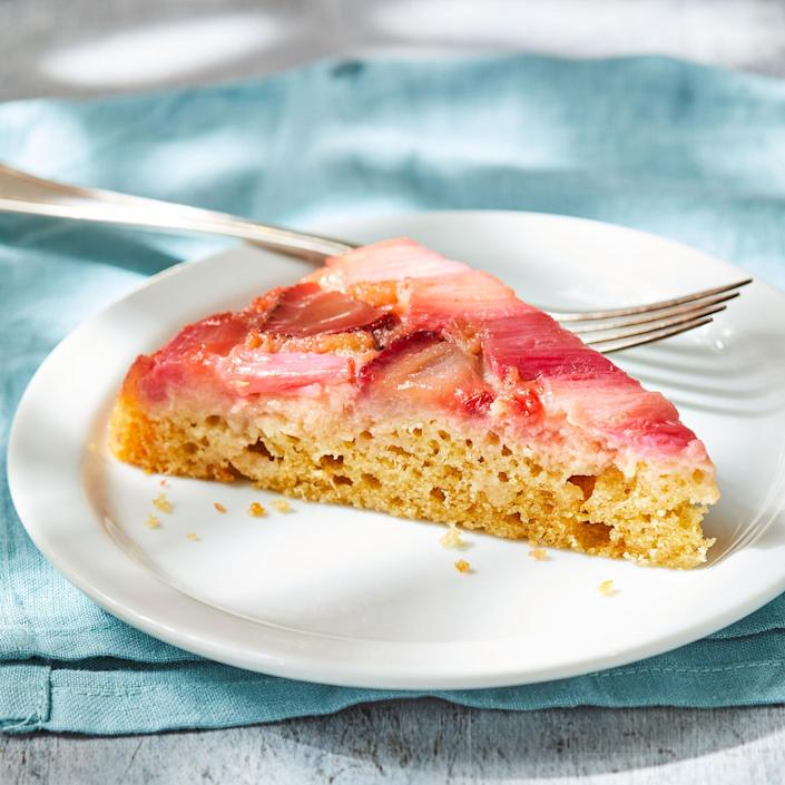 <p>We chose the classic combination of strawberries and rhubarb for this easy cake, but you can substitute 3 cups of any ripe fruit you'd like. Yogurt adds a creaminess that pulls the whole cake together.</p>