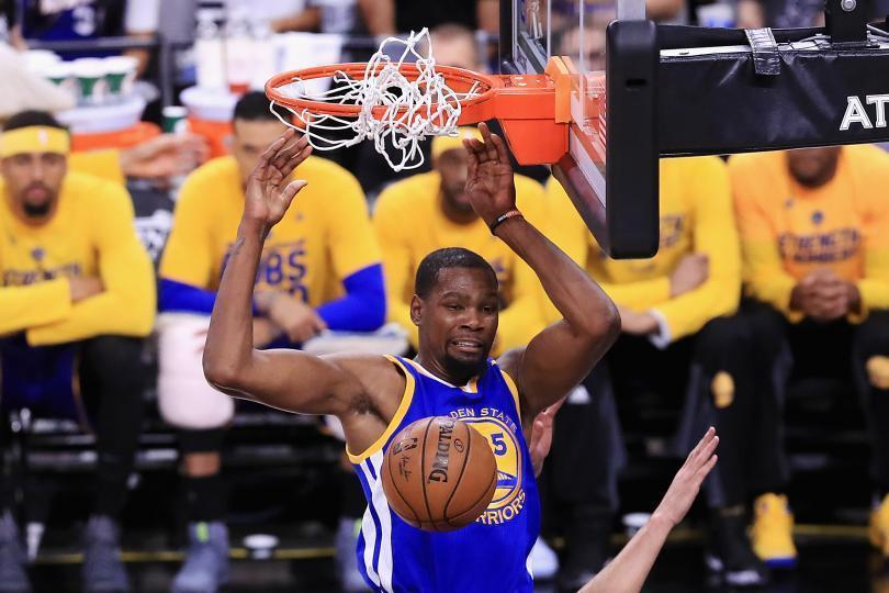 The Golden State Warriors' Kevin Durant and Stephen Curry are two of the NBA's five best players.