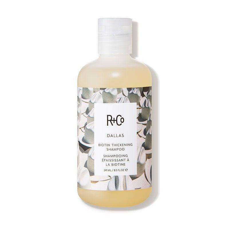 """<h3>R+Co Dallas Biotin Thickening Shampoo</h3><br>In addition to adding voluminous body to fine hair, this shampoo contains vitamin B5 and biotin to strengthen strands to prevent breakage over time.<br><br><strong>R+Co</strong> Dallas Biotin Thickening Shampoo, $, available at <a href=""""https://go.skimresources.com/?id=30283X879131&url=https%3A%2F%2Fwww.dermstore.com%2Fproduct_DALLAS%2BBiotin%2BThickening%2BShampoo%2B_74521.htm"""" rel=""""nofollow noopener"""" target=""""_blank"""" data-ylk=""""slk:DermStore"""" class=""""link rapid-noclick-resp"""">DermStore</a>"""