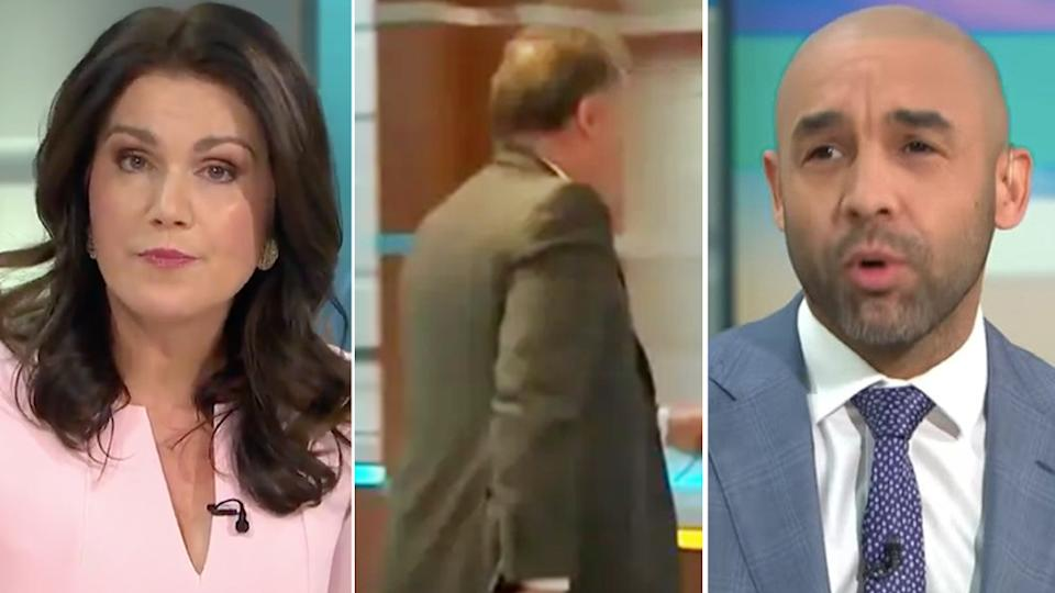 Piers Morgan's former co-hosts Susanna Reid and Alex Beresford were 'missing' from the show after their heated Meghan Markle clash. Photo: Good Morning Britain/ITV.