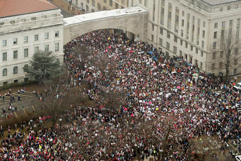 The Women's March crowds swell near the U.S. Capitol on Jan. 21. (Lucas Jackson / Reuters)