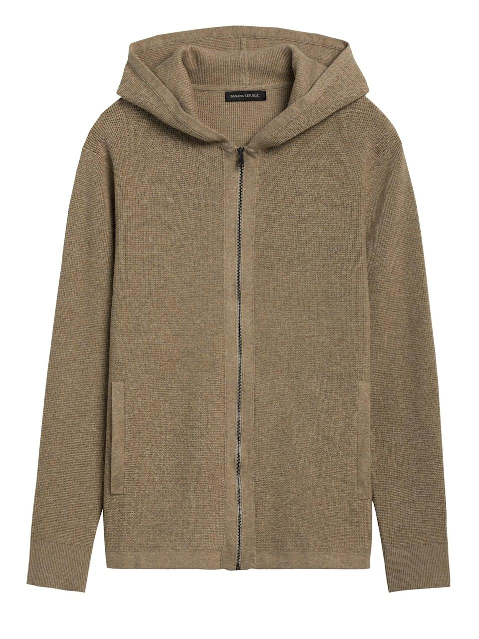 <p>If he prefers a zip up, get him this <span>Banana Republic SUPIMA® Cotton Sweater Jacket</span> ($129). SUPIMA® is the ultimate in luxury cotton!</p>