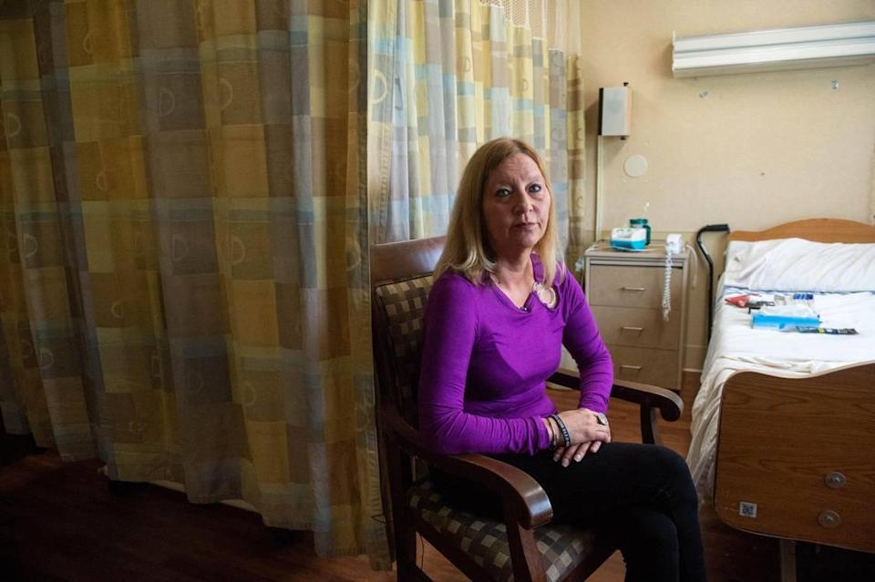 Suzanne Forbes, 51, director of admissions at Redwood of Blue River skilled nursing facility, had a very painful case of shingles over the Memorial Day weekend. She can't wait to get her shingles vaccine when her scabs disappear.