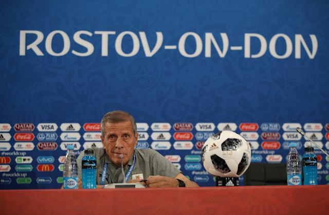 Soccer Football - World Cup - Uruguay Press Conference - Rostov Arena, Rostov-on-Don, Russia - June 19, 2018 Uruguay coach Oscar Tabarez during the press conference REUTERS/Marko Djurica