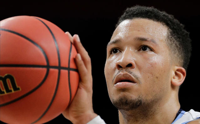 Villanova's Jalen Brunson shoots a free throw during the second half in the semifinals of the Final Four NCAA college basketball tournament against Kansas, Saturday, March 31, 2018, in San Antonio. (AP Photo/David J. Phillip)