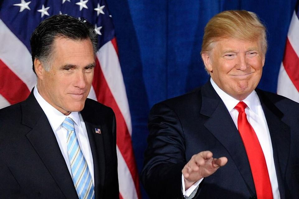 Mitt Romney (left) and Donald Trump as Trump endorses Romney in the 2012 presidential race | Ethan Miller/Getty Images