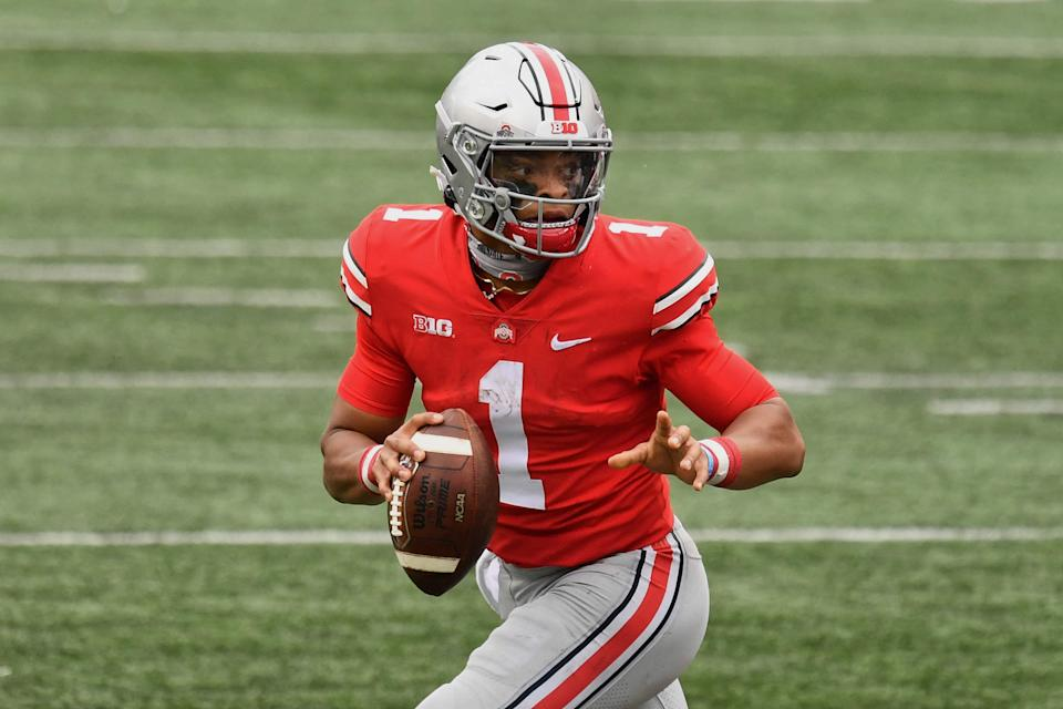 Ohio State QB Justin Fields was phenomenal in his season debut against Nebraska. (Photo by Jamie Sabau/Getty Images)