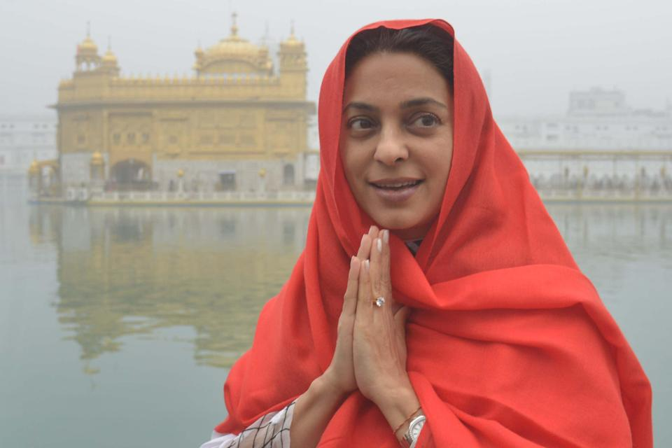 <p>Indian Bollywood actress Juhi Chawla visits the Sikh Golden Temple in Amritsar on 13 December 2016</p> (AFP via Getty Images)