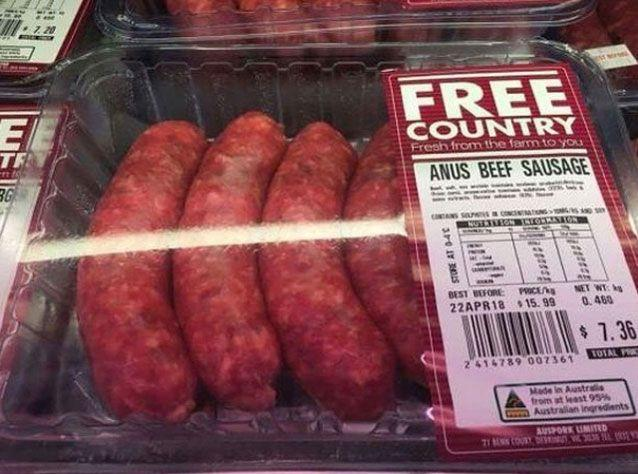 A shopper noticed a typo on this pack of sausages. Source: Instagram/ S*** Adelaide