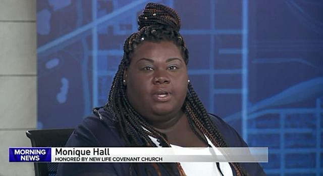 The pizza delivery woman shared her story on WGN, alongside Paster Wilfredo. (Photo: WGN)