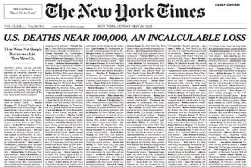 NYT Marks Grim US Coronavirus Milestone on Front Page with One-line Obituary for 1000 Victims