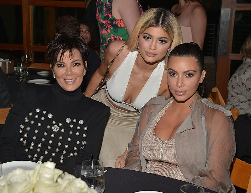 Kardashian mamas Kris Jenner, Kylie Jenner, and Kim Kardashian West attend a family dinner on Sept. 1, 2015 in Malibu, Calif. (Photo: Charley Gallay/Getty Images for Kardashian/Jenner Apps)