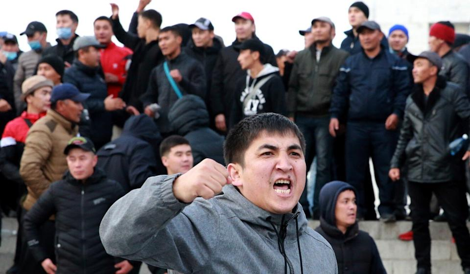 Supporters of politician Sadyr Japarov protest at the central Ala-Too Square in Bishkek on Friday. Photo: EPA-EFE
