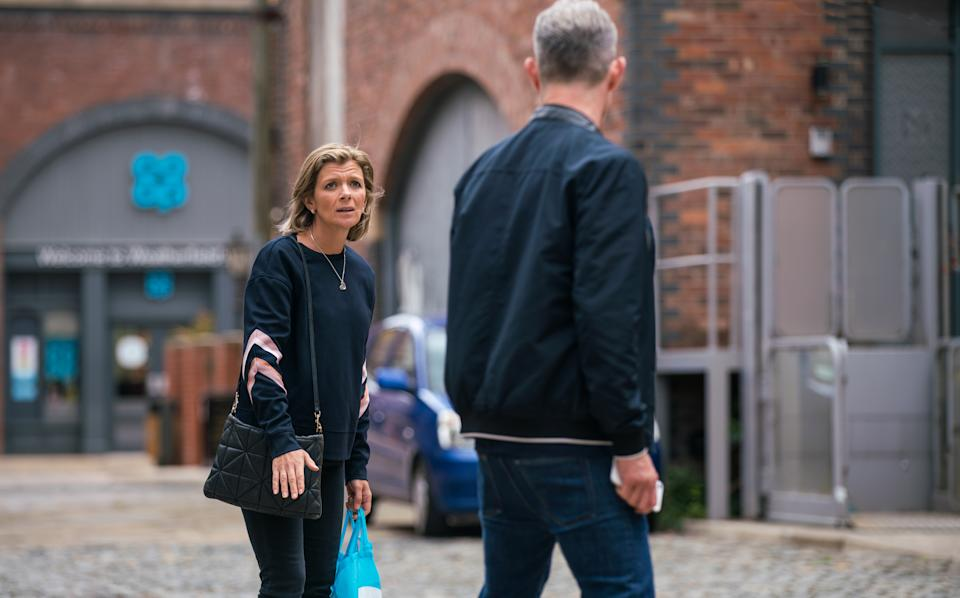 FROM ITV  STRICT EMBARGO - No Use before Tuesday 13th July 2021  Coronation Street - Ep 10383  Wednesday 21st July 2021 - 2nd Ep  Nick Tilsley [BEN PRICE] and Leanne Battersby [JANE DANSON] conduct a frantic search for Sam while Sam remains on the balcony.   Picture contact David.crook@itv.com   This photograph is (C) ITV Plc and can only be reproduced for editorial purposes directly in connection with the programme or event mentioned above, or ITV plc. Once made available by ITV plc Picture Desk, this photograph can be reproduced once only up until the transmission [TX] date and no reproduction fee will be charged. Any subsequent usage may incur a fee. This photograph must not be manipulated [excluding basic cropping] in a manner which alters the visual appearance of the person photographed deemed detrimental or inappropriate by ITV plc Picture Desk. This photograph must not be syndicated to any other company, publication or website, or permanently archived, without the express written permission of ITV Picture Desk. Full Terms and conditions are available on  www.itv.com/presscentre/itvpictures/terms