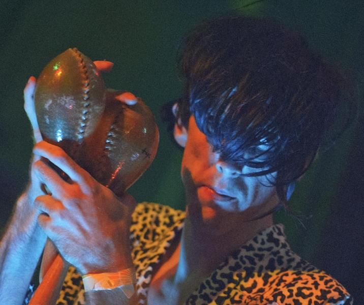 Bradford Cox performs along with other members of the indie rock group Deerhunter, at One Eyed Jack's in the French Quarter in New Orleans, Monday, April 29, 2013. (AP Photo/Matthew Hinton)