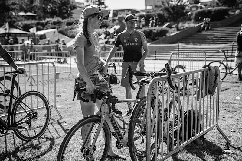 Brenna Wrye-Simpson in the mechanic pit at a cyclo-cross race