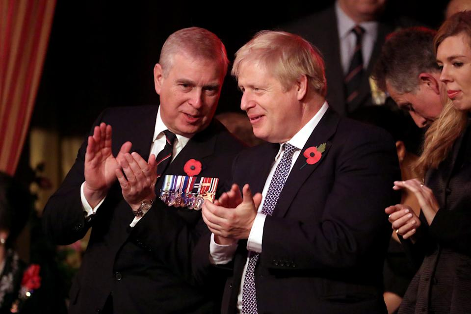 LONDON, ENGLAND - NOVEMBER 09: Prince Andrew, Duke of York and Prime Minister, Boris Johnson attend the annual Royal British Legion Festival of Remembrance at the Royal Albert Hall on November 09, 2019 in London, England. (Photo by Chris Jackson/- WPA Pool/Getty Images)