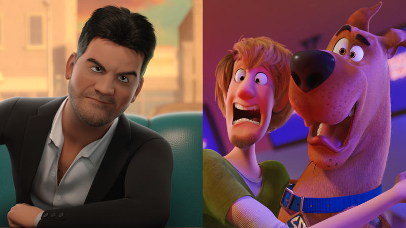 Simon Cowell makes a bizarre cameo appearance in 'Scoob!'. (Credit: Warner Bros)