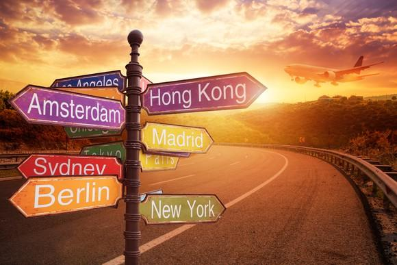 Sign showing major cities of the world.