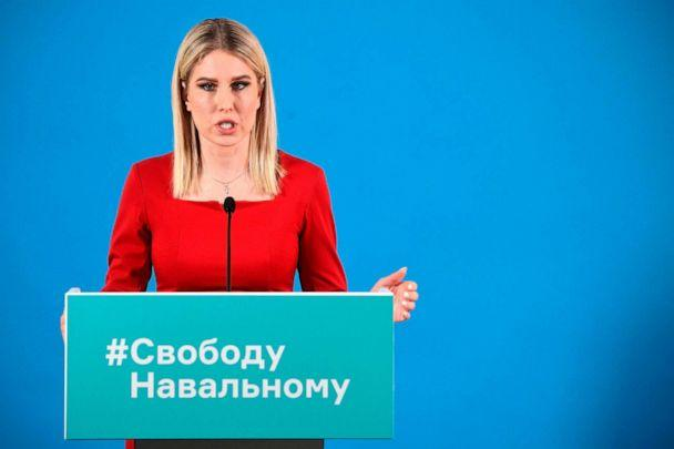 PHOTO: Opposition figure Lyubov Sobol holds a press conference on the arrest of opposition leader Alexei Navalny and recent protests across the country to demand his release, at the office of Navalny's Anti-Corruption Foundation in Moscow, Jan. 26, 2021.  (Alexander Nemenov/AFP via Getty Images)