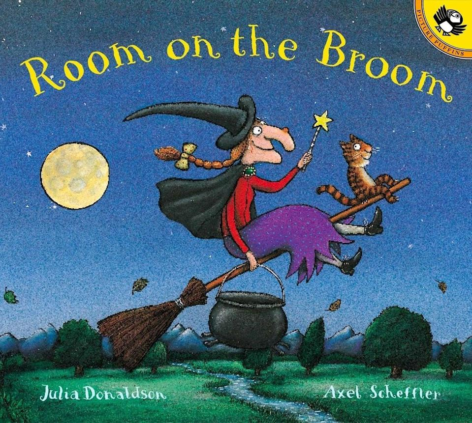 """<p>With whimsical illustrations and a cute story, follow a witch as she goes for a moonlight broomstick ride in <span><strong>Room on the Broom</strong></span> ($7, originally $8). This book is a good <a class=""""link rapid-noclick-resp"""" href=""""https://www.popsugar.com/Halloween"""" rel=""""nofollow noopener"""" target=""""_blank"""" data-ylk=""""slk:Halloween"""">Halloween</a> read for kids of all ages.</p>"""