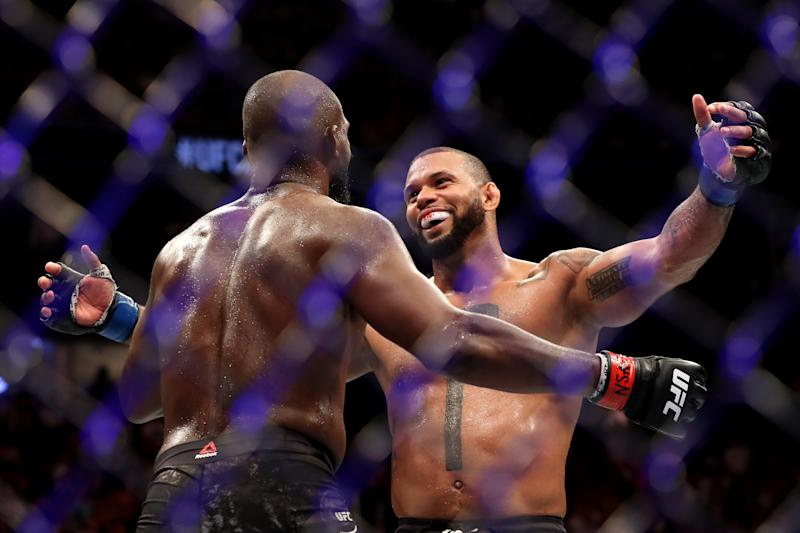 Jon Jones of the United States hugs Thiago Santos of Brazil after their UFC Light Heavyweight Title bout at T-Mobile Arena on July 06, 2019 in Las Vegas, Nevada. Jones defeated Santos by decision.