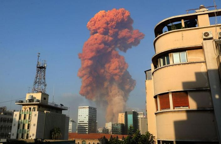 A picture shows the scene of an explosion in Beirut on August 4, 2020.