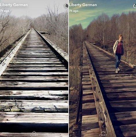 It is believed that Liberty German uploaded these two photos to Snapchat prior to the girls' disappearance. (Facebook)