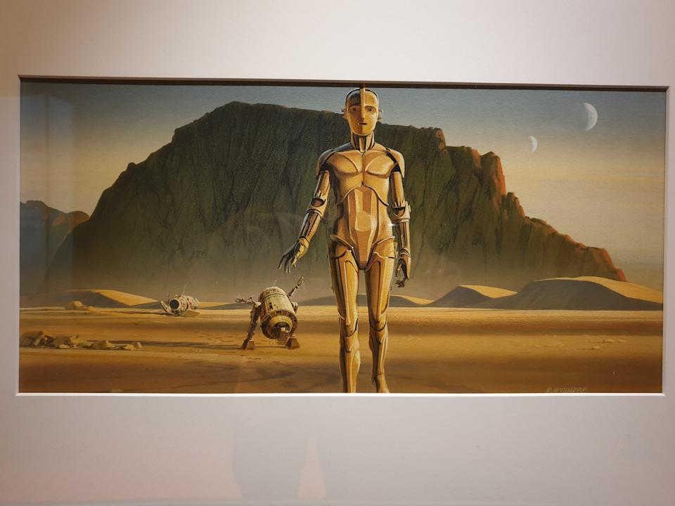 Acrylic painting of droids R2-D2 and C-3PO by Ralph McQuarrie at the Star Wars Identities exhibition in Singapore at the Artscience Museum. (Photo: Teng Yong Ping)