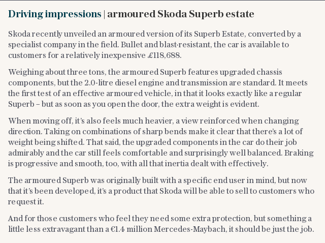 Driving impressions | armoured Skoda Superb estate