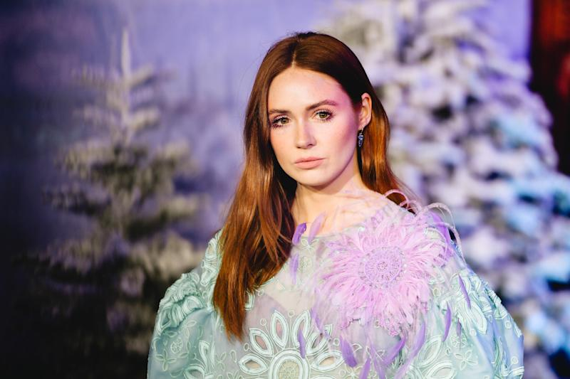 """HOLLYWOOD, CALIFORNIA - DECEMBER 09: (EDITORS NOTE: Image has been edited using digital filters) Karen Gillan attends the premiere of Sony Pictures' """"Jumanji: The Next Level"""" on December 09, 2019 in Hollywood, California. (Photo by Matt Winkelmeyer/FilmMagic,)"""