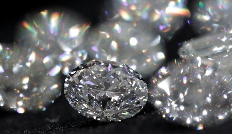 Diamonds are pictured during an official presentation by diamond producer Alrosa in Moscow