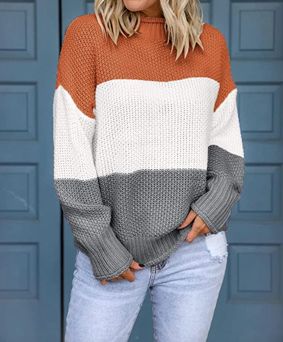 Slouchy, cool, and even cozier in colorblock! (Photo: Amazon)