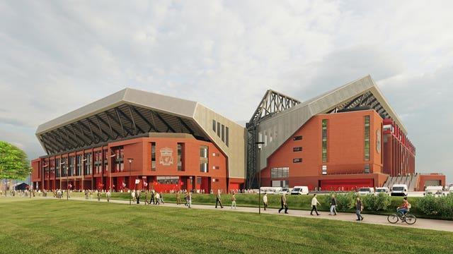 An artist's impression showing how the redeveloped Anfield Road Stand will mirror the design of the Main Stand