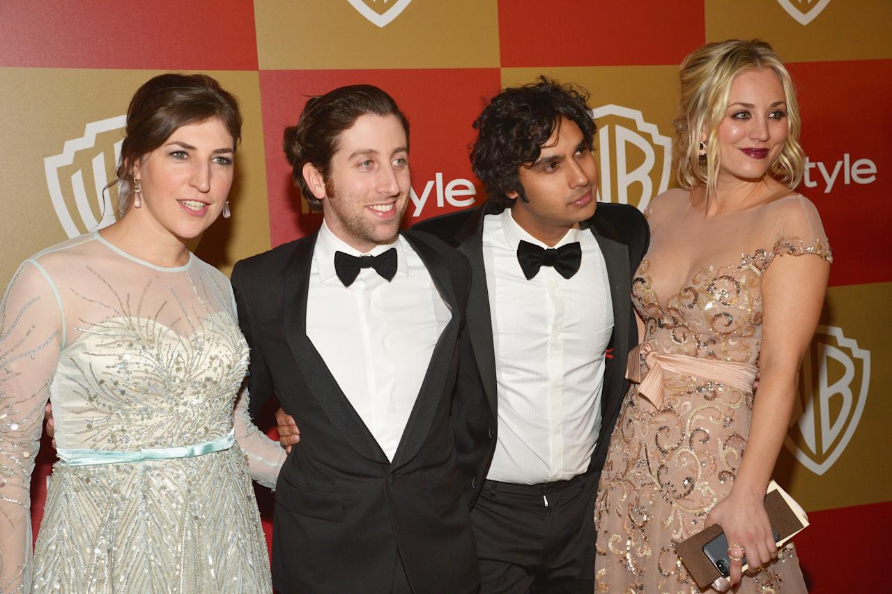 (L-R) Actors Mayim Bialik, Simon Helberg, Kunal Nayyar and Kaley Cuoco attend the 2013 InStyle and Warner Bros. 70th Annual Golden Globe Awards Post-Party held at the Oasis Courtyard in The Beverly Hilton Hotel on January 13, 2013 in Beverly Hills, California.