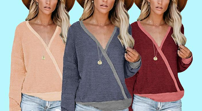 This V-neck wrap sweater can be worn forward or backward. (Photo: Amazon)