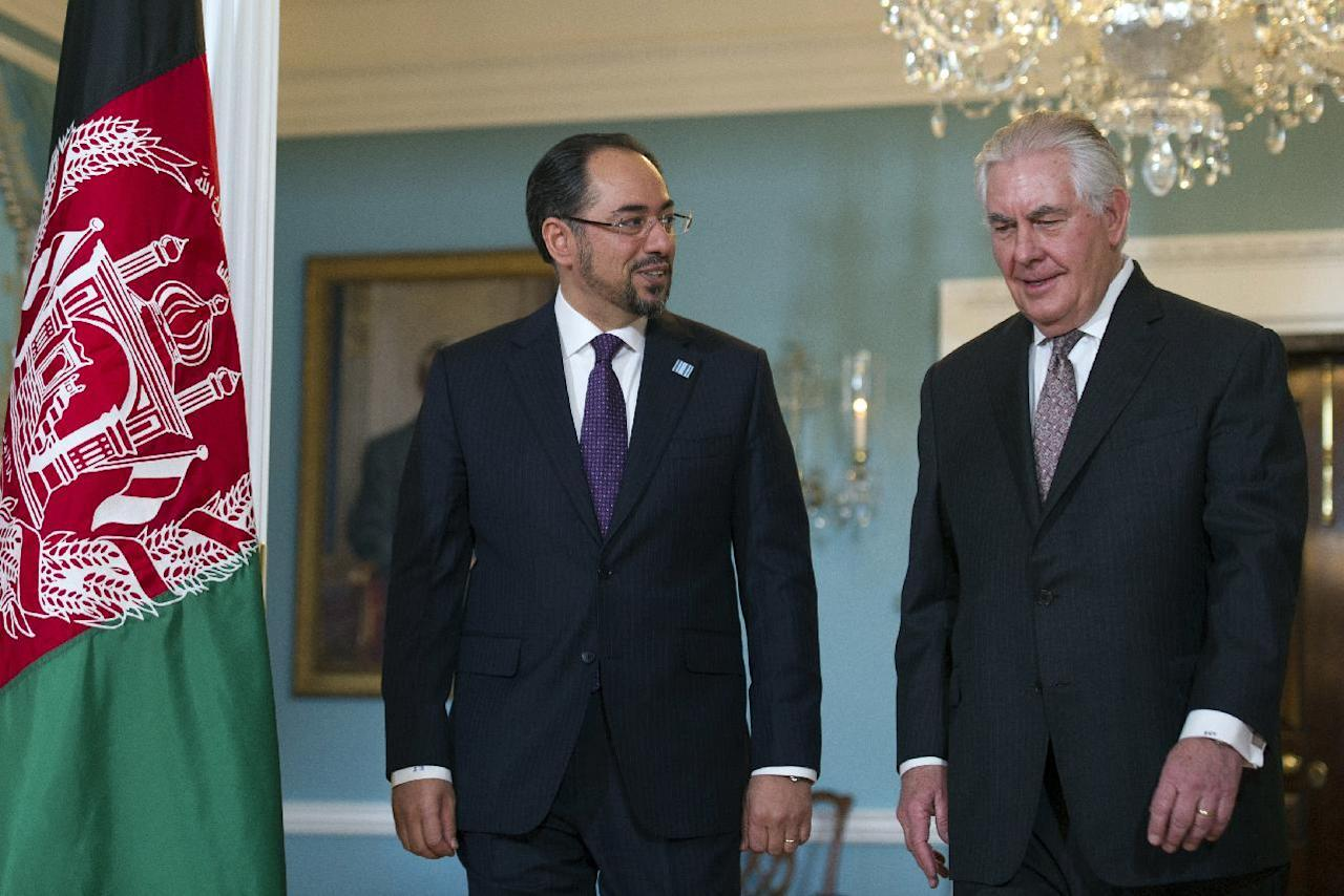 Secretary of State Rex Tillerson meets with Afghan Foreign Minister Salahuddin Rabbani at the State Department in Washington, Wednesday, March 22, 2017. (AP Photo/Cliff Owen)