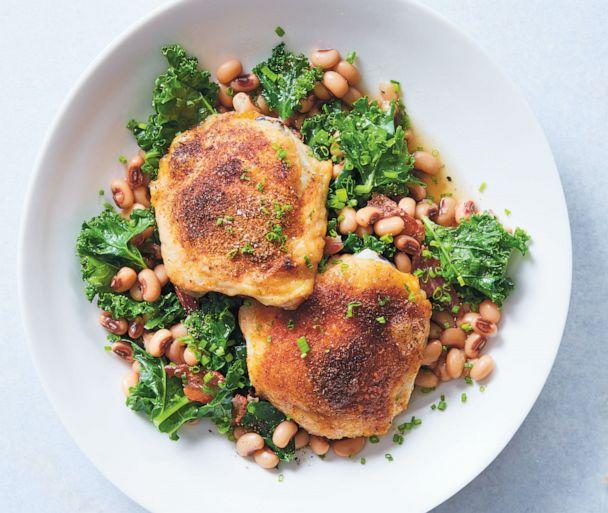 PHOTO: Crispy chicken thighs with kale and black-eyed peas from Lindsay Maitland Hunt's cookbook, 'Help Yourself: A Guide to Gut Health for People who Love Delicious Food.' (Linda Pugliese)