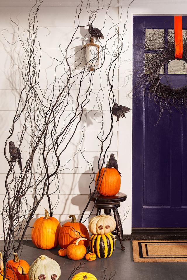 """<p>Find affordable decor in your yard. Gather long sticks and spray-paint them glossy black, then push them into the tops of pumpkins.</p><p><strong>What you'll need:</strong> glossy black spray paint ($7, <a rel=""""nofollow"""" href=""""https://www.amazon.com/CRC-Purpose-Enamel-Spray-Aerosol/dp/B07H1NPCQM/"""">amazon.com</a>)</p>"""