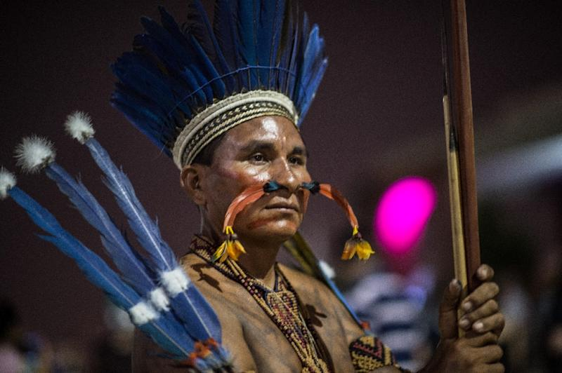 Anger among Brazil's tribes over land theft and the slow destruction of their culture took center stage at opening of World Indigenous Games in Palmas (AFP Photo/Christophe Simon)
