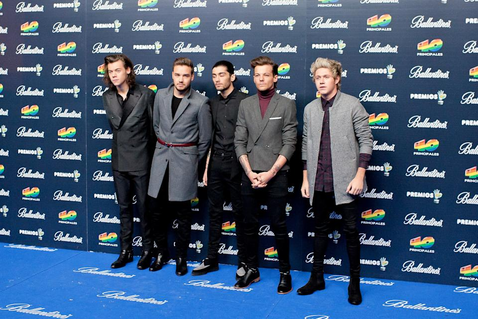 (L-R) Harry Styles, Liam Payne, Zayn Malik, Louis Tomlinson and Niall Horan of One Direction attend the '40 Principales' awards 2013 photocall at the Barclaycard Center (Palacio de los Deportes) on December 12, 2014 in Madrid, Spain. (Photo by Oscar Gonzalez/NurPhoto) (Photo by NurPhoto/NurPhoto via Getty Images)