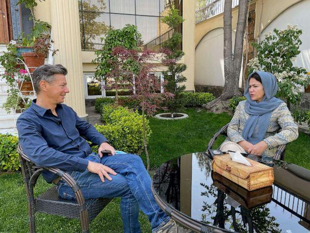 PHOTO: ABC News' Ian Pannell interviews leading female politician and women's rights activist, Fawzia Kufi, in Kabul, Afghanistan, May 2021. (Aleem Agha/ABC News)