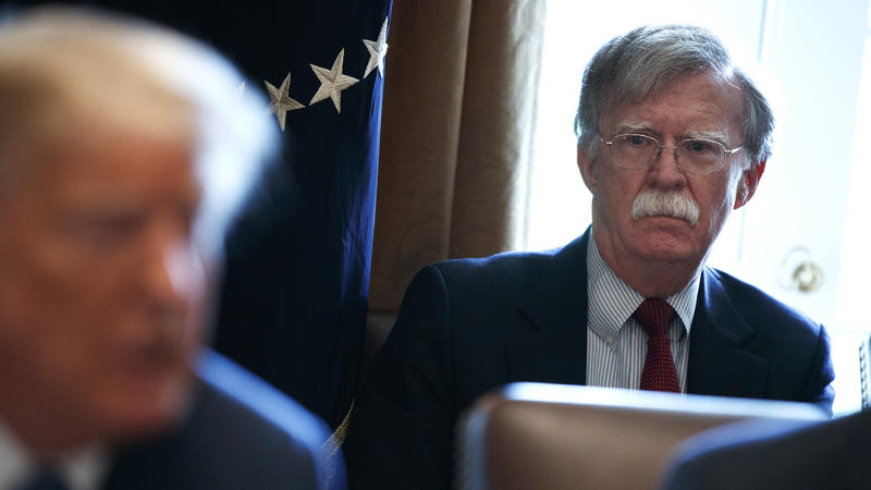 National security adviser John Bolton listens as President Donald Trump speaks during a cabinet meeting at the White House, Monday, April 9, 2018, in Washington. (Photo: Evan Vucci/AP)