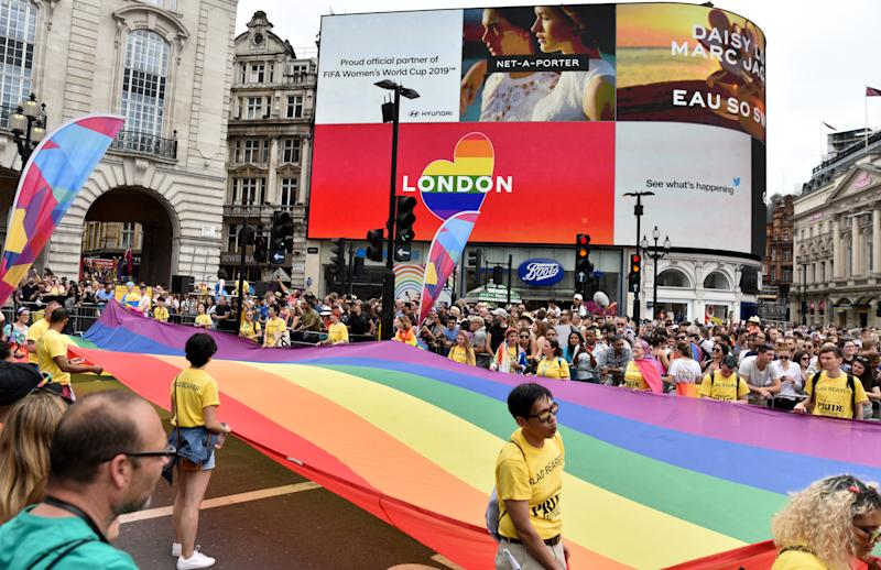 The Pride in London 2019 Parade passes through Piccadilly Circus. (Photo credit should read Matthew Chattle / Barcroft Media / Barcroft Media via Getty Images)