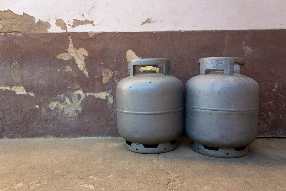 Spare gas canisters on a small farm