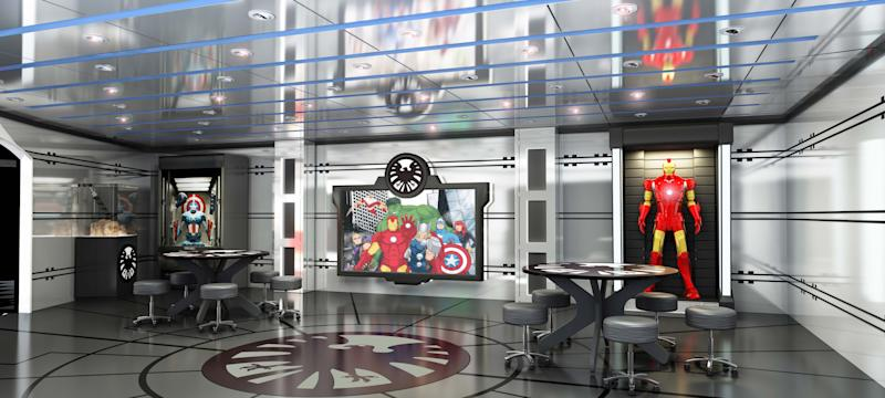 This undated image provided by Disney Cruise line shows a rendering of a new children's area called Marvel's Avengers Academy to be built on the Disney Magic ship. The Magic, launched in 1998, is the cruise line's oldest ship and will be going into drydock for a makeover this fall. In addition to the Marvel area themed on Marvel Comics superheroes, the ship will get a new three-story water slide. (AP Photo/Disney Cruise Line)